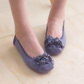 娃娃鞋 懶人鞋 休閒鞋 藍 女鞋 真皮平底鞋《生活美學》
