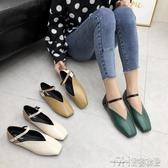 春季新款韓版方頭平底單鞋英倫風百搭拼色軟底女鞋 雙十二特惠