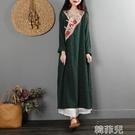 茶服 中國風復古改良旗袍連衣裙春裝寬鬆長袖中式茶服民族風連衣長裙 韓菲兒