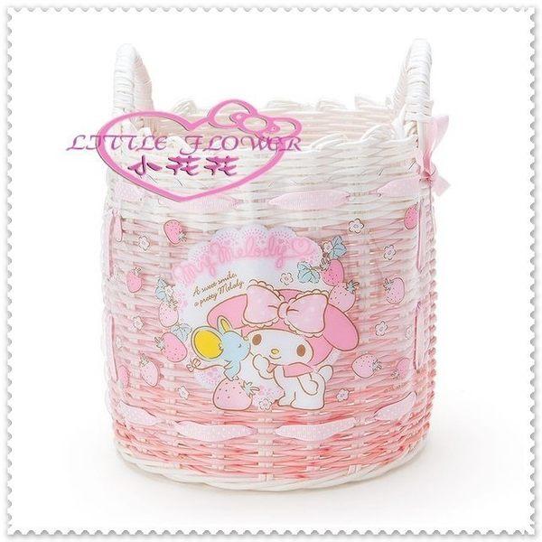 小花花日本精品♥ 美樂蒂 編織置物籃 雜誌籃 手把 收納籃 野餐籃 粉色草莓老鼠親親 12032402