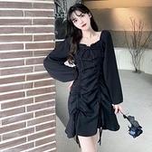 長袖洋裝連身裙M-4XL中大尺碼大碼女裝氣質小黑裙子抽繩褶皺顯瘦辣妹黑色連衣裙GB407.7169胖胖唯依