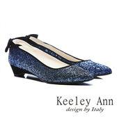 ★零碼出清★Keeley Ann閃耀精緻~絨布蝴蝶結金蔥造型低跟鞋(藍色)