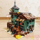 漁夫小屋模型建筑街景拼裝兼容樂高積木益智拼插玩具【聚可愛】