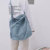 牛仔包帆布包女2019新款潮復古牛仔布側背包學生韓版CHIC簡約百搭斜背包 時尚新品