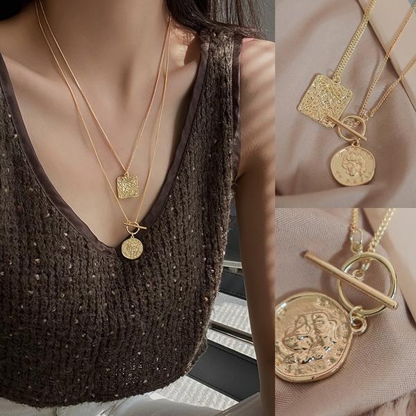 現貨◆PUFII-項鍊 金幣項鍊+方形項鍊(兩款一組)- 1229 冬【CP19789】