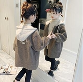 女童外套 女童羊羔毛外套洋氣時髦春裝兒童裝加厚中大童夾棉絨上衣潮【快速出貨八折優惠】