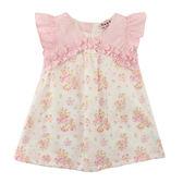 【愛的世界】小小花園純棉抓皺荷葉邊前襟花卉半袖洋裝/2~4歲-台灣製- ★春夏洋裝