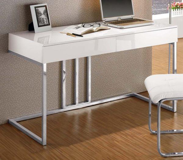 【森可家居】麥爾斯4尺書桌 7CM386-2 (不含椅) 白色 亮面烤漆 簡約 北歐風