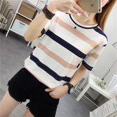 DE shop - 圓領條紋配色短袖T恤 - T-2929