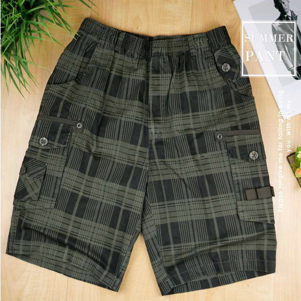 【大盤大】MINGXI 鳴喜 M號 五分褲 格子短褲 口袋 工作褲 運動褲 寬鬆 鬆緊褲頭 抽繩 彈性