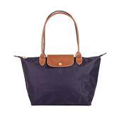 Longchamp Le Pliage 經典尼龍中型摺疊長柄水餃包(藍莓)