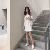 VK旗艦店 法式少女月潔白橡皮粉色吊帶露肩荷葉袖長裙短袖洋裝