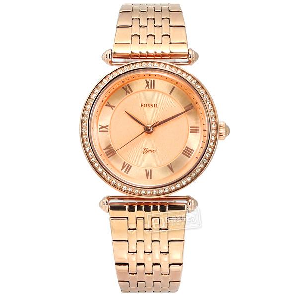 FOSSIL / ES4711 / Lyric 晶鑽鑲圈 羅馬刻度 礦石強化玻璃 日本機芯 不鏽鋼手錶 鍍玫瑰金 32mm