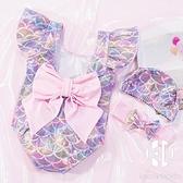 泳衣女寶寶嬰兒泳衣0-1-5歲美人魚可愛公主女童韓國泳帽游泳衣【Kacey Devlin】