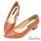 訂製鞋 OL金屬跟尖頭中跟鞋-棕色下單區