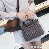 手提包女 少女包包潮2018新款韓版百搭格子子母包ins超火手提單肩斜背小包 芭蕾朵朵