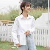 降價兩天 2020秋領帶jk白色襯衫女寬鬆 職業純棉襯衣外穿 百搭休閒長袖上衣
