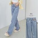 皮革標拼接雙高腰薄牛仔寬褲M-XL號-BAi白媽媽【310466】