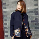 冬季新款短款棉麻棉衣女棉襖加絨加厚民族風女裝棉服外套洋裝 618降價