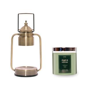 (組)EPOCHSIA x Pray守夜人金屬香氛蠟燭暖燈(S)-復古金+柑橘鼠