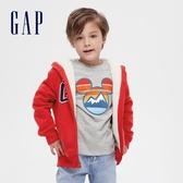 Gap男童 Logo迷彩仿羊羔絨連帽外套 593472-紅色