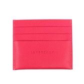 【LONGCHAMP】LE FOULONNE牛皮荔枝紋6卡名片夾(桃粉色) 3219021018