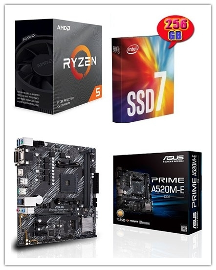 (A520系列)AMD R5 3600 + 華碩 PRIME A520M-E/CSM + Intel 760P 256G M.2 SSD【刷卡含稅價】