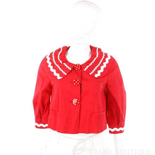 Moschino 紅色滾白邊圓釦短版外套 0810469-54