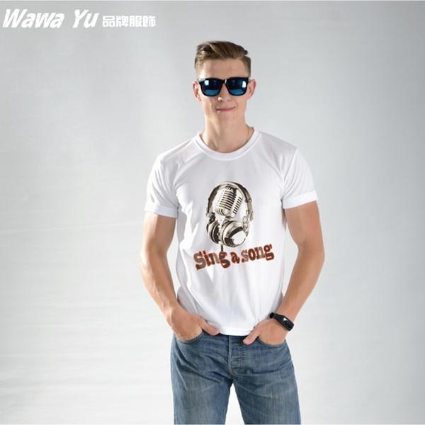原創潮流設計T恤 (男-中性款) (XS-2XL尺碼)(圖案名稱-sing a song) [Wawa Yu品牌服飾]