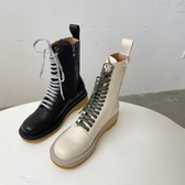 2020歐美秋冬新款厚底粗跟系帶馬丁靴女網紅英倫風側拉鏈騎士靴女
