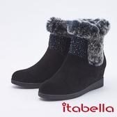 itabella.高貴真皮水鑽精緻楔型短靴(9755-93黑色)