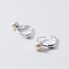 925純銀 天然淡水小珍珠 小耳圈扣耳環...