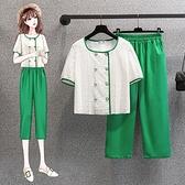大碼套裝L-4XL套裝女方領泡泡袖鏤空鉤花蕾絲短款上衣九分褲兩件套MR26依佳衣