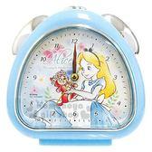 〔小禮堂〕迪士尼 愛麗絲 三角形鬧鐘《藍白.抱玩偶》桌鐘.時鐘 4548626-09084