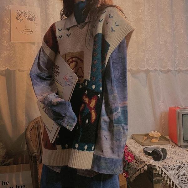 復古V領針織衫女寬鬆馬甲森系毛衣外套秋季【聚寶屋】