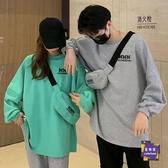 情侶T 網紅寬鬆長袖連帽T恤女韓版2020年秋季新款字母印花情侶裝炸街上衣潮
