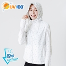 UV100 防曬 抗UV-冰絲印花連帽外套-可收納