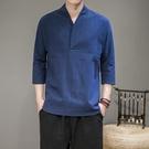 促銷 中國風復古男裝V領棉麻T恤夏季大碼寬松7七分袖漢服唐裝禪衣茶服