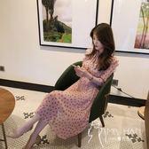 洋裝  春秋裝女2018新款長袖雪紡連身裙中長款韓版復古初戀裙氣質