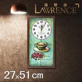 【Lawrence羅蘭絲】香濃拿鐵木框(玻璃面板)復古時鐘(27x51cm) 鄉村歐美 壁掛掛鐘 居家佈置 裝飾畫