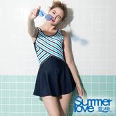 【Summer Love 夏之戀】加大碼條紋顯瘦連身帶裙泳裝(S19712)