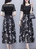 中大尺碼蕾絲洋裝 蕾絲雪紡碎花連身裙女2020新款夏氣質遮肚子大碼貴夫人35一45長裙