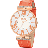 Folli Follie DYNAST 時尚教主石英腕錶-白x橘/36mm WF1B029SSS-OR
