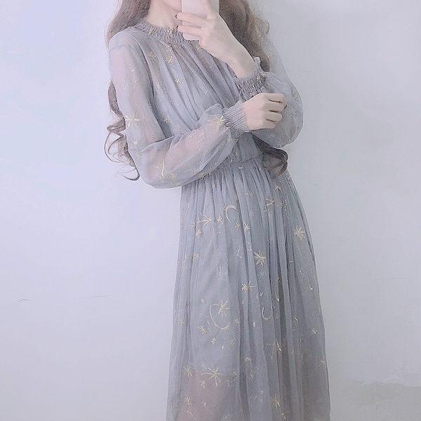 正韓星空刺繡網紗中長連身裙 純色吊帶裙兩件套女洋裝-BB奇趣屋