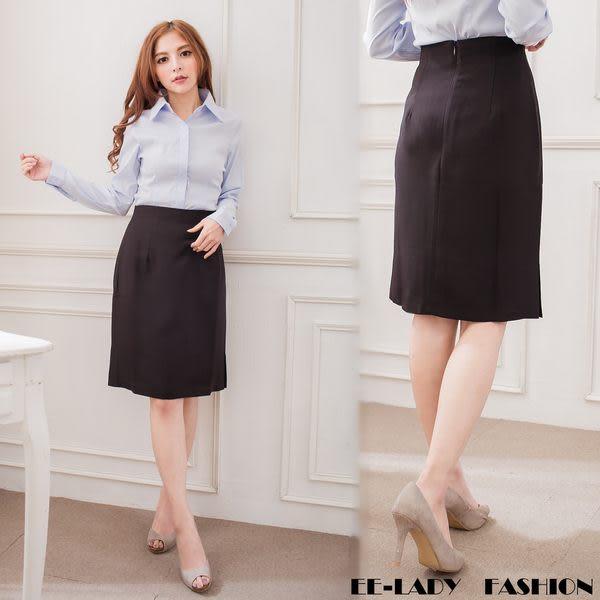 ╭*衣衣夫人OL服飾店*中大【N953】雙開叉素面黑色裙子