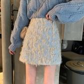 毛呢短裙 秋冬毛呢半身裙女2020新款氣質設計感包臀裙子顯瘦高腰A字裙短裙 韓國時尚週