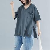 大尺碼 2019夏季新款韓版大碼V領口袋短袖T恤女中長款寬鬆200斤開叉上衣 快速出貨