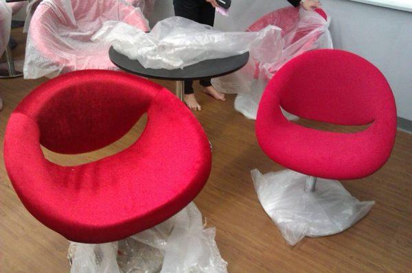 【南洋風休閒傢俱】設計單椅系列- 微笑椅 絨造型椅 洽談椅 單人沙發**特價出清** (如圖左)