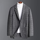 毛呢外套-復古格子保暖修身羊毛男西裝73yu35[巴黎精品]