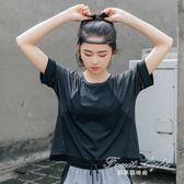 運動t恤女寬鬆健身房罩衫瑜伽服速幹短袖網紗上衣薄 果果輕時尚